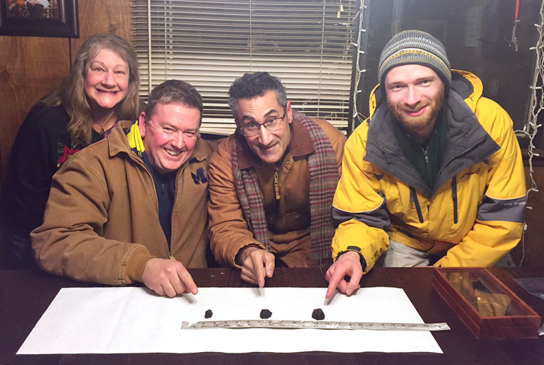 Sandra Macika, Todd Slisher, Tony Licata, and Brian Wolff, with their Hamburg Meteorite finds